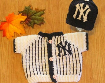 Baby Baseball Hat and SWEATER, Baby YANKEES inspired Pinstripe Jersey Sweater (Handmade by me and not affiliated with the MLB)