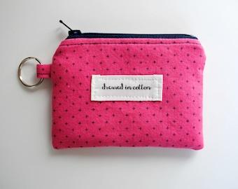 Pink Coin Purse Keychain, Hot Pink Change Purse, Card Wallet, Navy Blue Zipper, Navy Blue Lining, Small Zipper Bag, Key Chain, Bright Pink