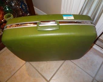 Vintage Samsonite Horizon Large Hard Case Suitcase, Green Samsonite Horizon Luggage, Mid Century Luggage