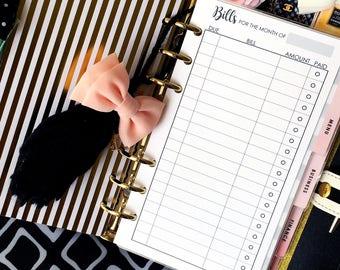 Printed Planner Inserts - Bill Tracker - Filofax Personal - Kikki K Medium - 3.75 x 6.75 in. - Design: Wanderlust