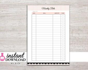 A5 Planner Printable - Bill Tracker - Filofax A5 - Kikki K Large - Design: Mademoiselle