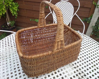 "Wicker Shopping Basket, Harvest Basket, Flower Basket, Brown Woven Willow, Good Vintage Condition, 13"" x 12"" x 10"", Circa 1950"
