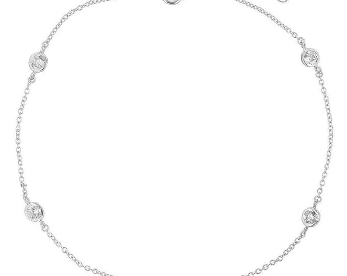 Gold anklet bracelet,Lydia Anklet bracelet , Diamond By the Yard ANKLET gold filled bracelet, . CZ Stones