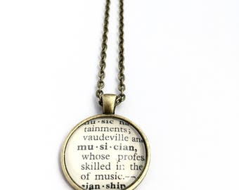 MUSICIAN Vintage Dictionary Word Pendant