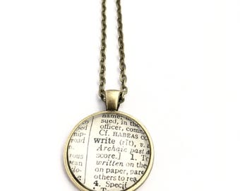 WRITE Vintage Dictionary Word Pendant