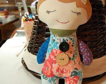 Darling Scrappy Doll - Girl// Cloth Doll // birthday gift // flower girl gift // stuffed doll //  baby doll // patchwork doll