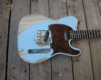 Swamp Ash heavy relic aged baby blue Tele guitar body nitro finish guitar body fits oem, telecaster body project.
