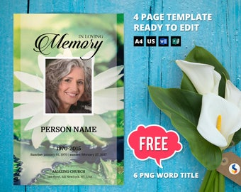 WHITE LOTUS | Funeral Program Template, Obituary Program, Memorial Program Template, Microsoft Word Template (Cherry Blossom)-v09