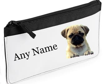 Personalised Pug/Puppy/Dog Pencil Case *Pink/Blue/Red/Black*