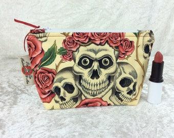 Gothic Rose Tattoo Skulls Zip Case Bag Pouch fabric Alexander Henry design Handmade in England