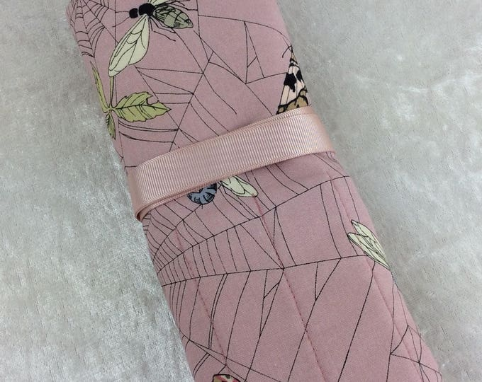 Ghastlie Web Moths Makeup Pen Pencil Roll Crochet Knitting needles tool holder case Alexander Henry Handmade in England