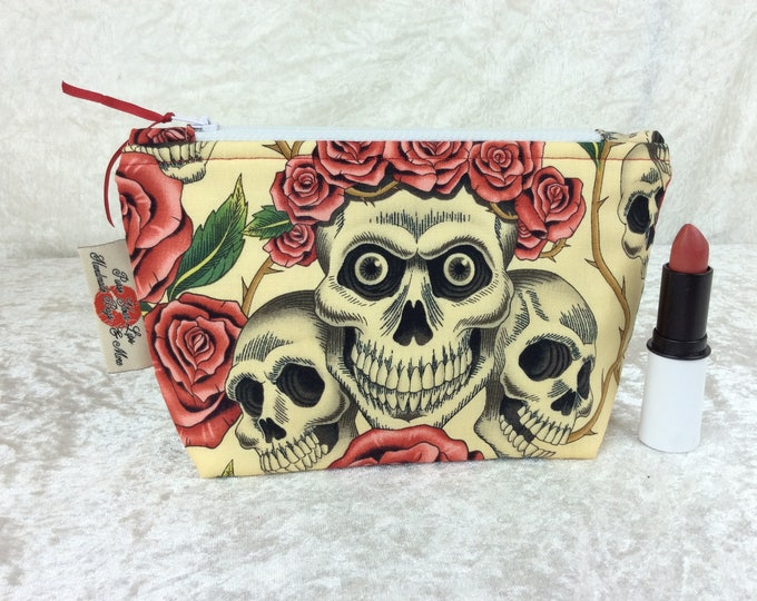 Gothic Rose Tattoo Skulls Zip Case Bag Pouch fabric Alexander Henry design Handmade in England