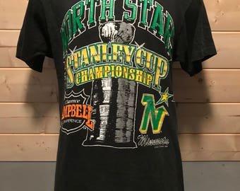 Vintage 1991 North Stars Stanley Cup  NHL Playoffs Made in USA T-Shirt