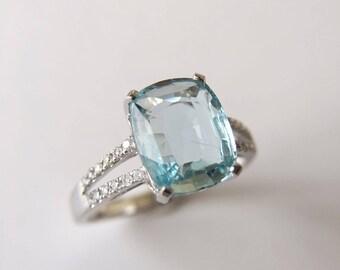 2.7 Carat Aquamarine Engagement Ring Blue Stone Ring