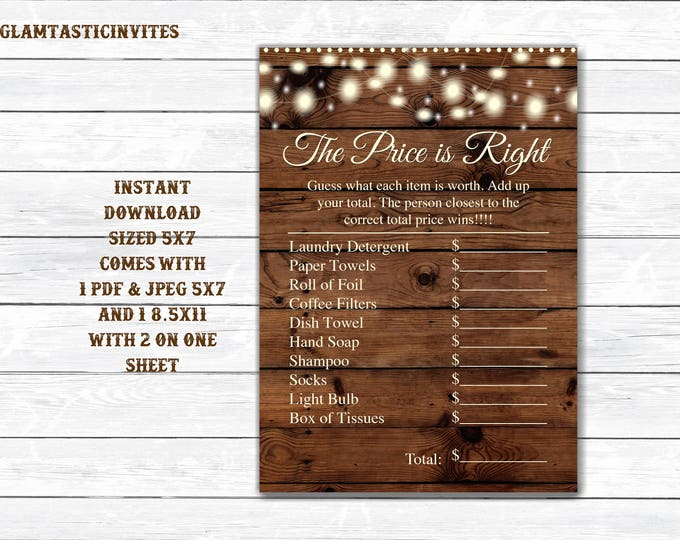 The Price is right Bridal Shower Game Printable, Bridal Shower Games, Bridal Shower Price is Right, Digital file, Bridal Shower Game, Bridal