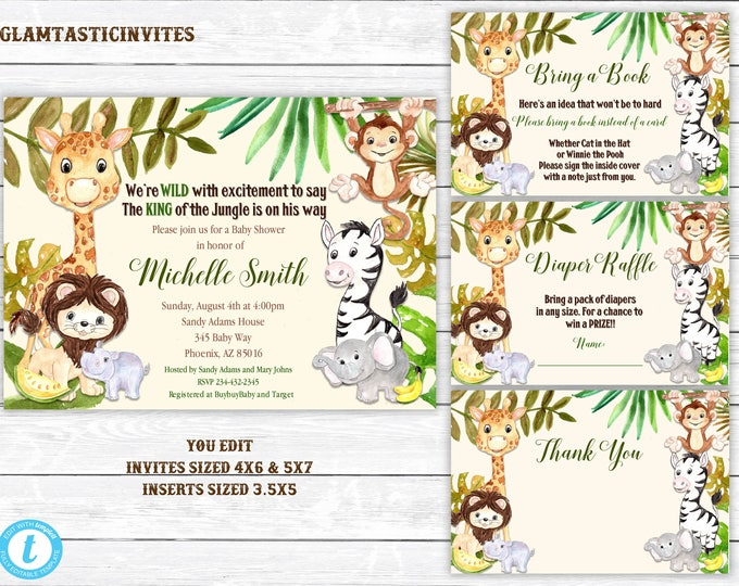 Giraffe Baby Shower Invitation, Safari Baby Shower Invitation, Jungle Baby Shower Invitation, Baby Shower Template, You Edit, Woodland Baby
