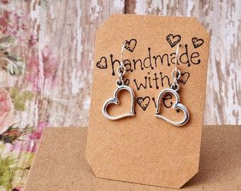 Silver Heart Earrings, Valentine Earrings - Everyday Jewelry. Cute Silver Heart Jewelry, Gift for her - Single Hoop Earrings