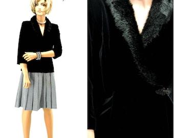 Black velvet faux fur sweater / top / blouse / size S / 80s / 90s / Alex Evenings formal black evening jacket / top SunnyBohoVintage