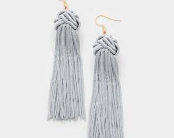 Grey Knot Thread Tassel Earrings