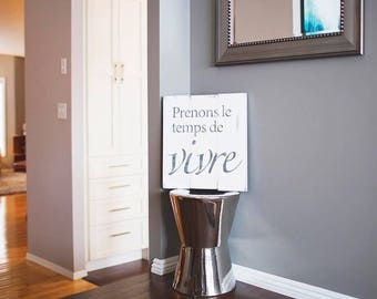 Vivre Wood Sign (french)