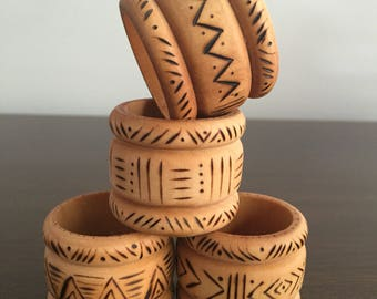 Wooden Napkin Rings with Tribal Design