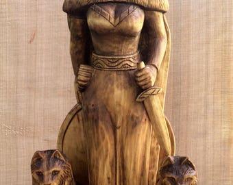 Freya, Wooden statue, pagan, Scandinavian God, Scandinavian statue, Asatru, Vikings statue, Norse goddess,Heathen