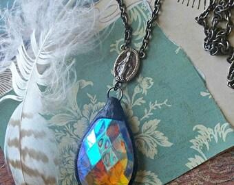 Summer Sale soldered crystal chandelier prism necklace - handmade - artisan - repurposed vintage - upcycled - kaleidoscope - long necklace -