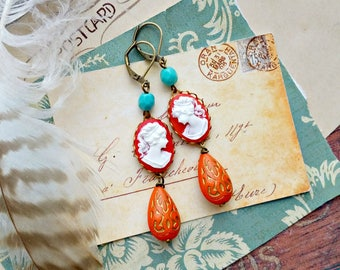 frida. red cameo earrings, persimmon teardrops, turquoise blue, Victorian, fab flea market, left right facing mirror images, cottage chic