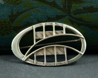 Rennie Mackintosh style brooch sterling silver vintage scarf pin signed Carrick Jewellers abstract design architectural Scottish silver pin