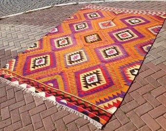 Turkish Kilim rug, area rug, rug, vintage rug, bohemian rug, Turkish rug, bright rug, Turkish, rug, colorful rug, boho rug, pink rug, 363