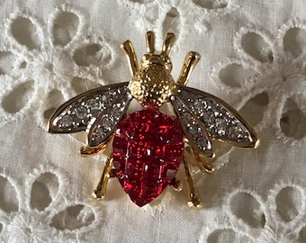 Bee brooch with red and clear stones
