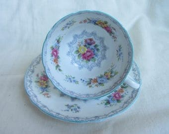 Vintage Shelley crochet pattern duo English,collectable  fine bone china 13303 tea cup and saucer with blue trim. Henley shape