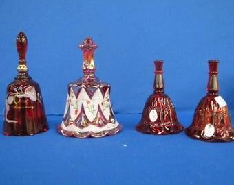 4 Fenton Art Glass Red Glass Bells
