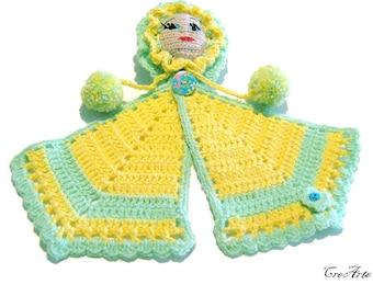 Yellow crochet doll potholder, presina bambola gialla all'uncinetto