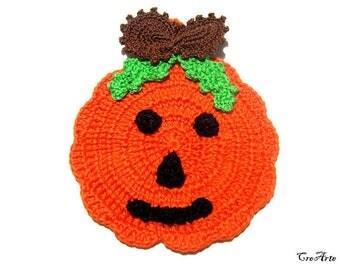 Orange Halloween crochet pumpkin potholder, presina arancione zucca per Halloween all'uncinetto
