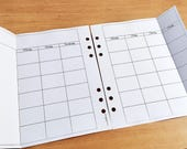 FOIL - Extended month on Two pages - Insert A5- Filofax - Kikki K - Paperchase - Planner - Ring Binder - 6 holes punched - Undated