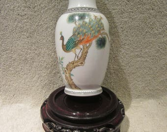Chinese  Republic Era Vase  Excellent Calligraphy Detail  Hand Painted Peacock Details Antique Red Markings