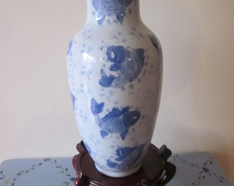 "Chinese Koi Fish export Hand Painted Blue White  Vase  14 Hand Painted Koi Fish   12  3/8 "" Tall Blue China Mark"