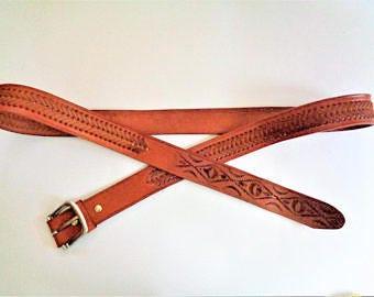 Vintage Genuine leather Belt, Mexican Leather Belt, Hand Tooled Leather Belt, Tan Leather Belt, Cowboy Belt, Size 54