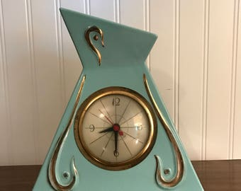 Vintage Retro Atomic Mid Century Modern Blue and Gold Mantle Clock