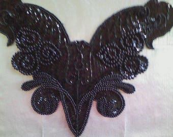 21) Black Bead and Sequin Neckine Applique