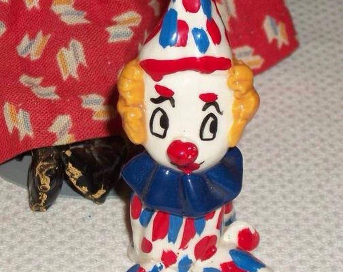 Vintage 90s Handmade Blue Red White Art Glass Clown Figure Figurine Hand Blown Paperweight
