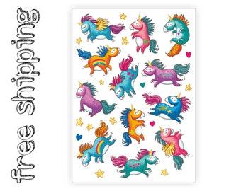 Temporary tattoos set «Rainbow unicorns» with little pony, unicorn, ranbow kids tattoos. Skin safe and long lasting body stickers. TA055