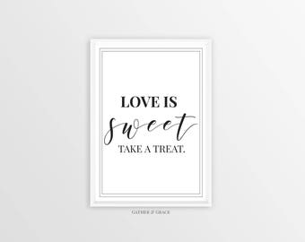 Candy Bar Printable, Wedding Printable, Wedding Decor, Party Decor, Love is Sweet, Take a Treat, Wedding Signs, Black and White, Candy bar