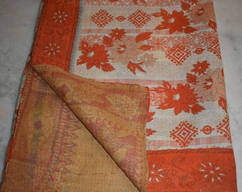 Throw Cotton Blanket Indian Handmade Quilt Vintage Twin Kantha Bedspread 2396 BY artisanofrajasthan