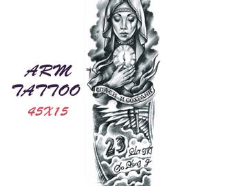 Praying woman  colored tattoo sleeve  45X15 cm / temporary tattoo