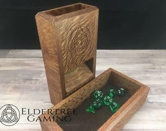 Premium Dice Tower with dice storage - Lacewood - Eldertree Gaming