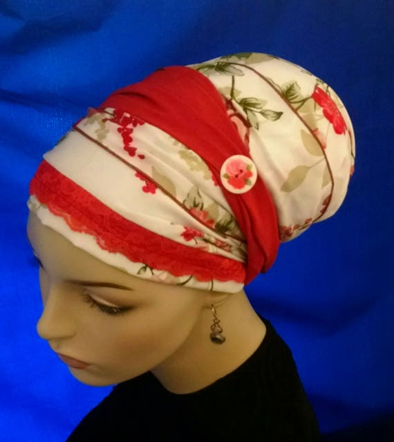 Red floral button sinar tichel, tichels, chemo scarves, head scarves, head wraps