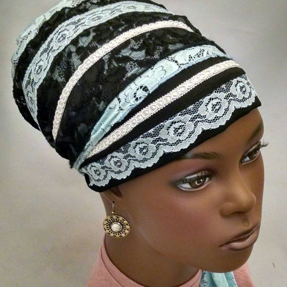 Gorgeous blue lace and black sinar tichel, tichels, head scarves, chemo scarf