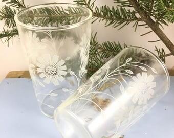 Pair Vintage floral print juice glasses, set of two juice glasses, retro juice glasses